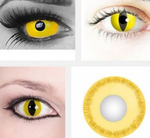 Gelbe Kontaktlinsen für Halloween